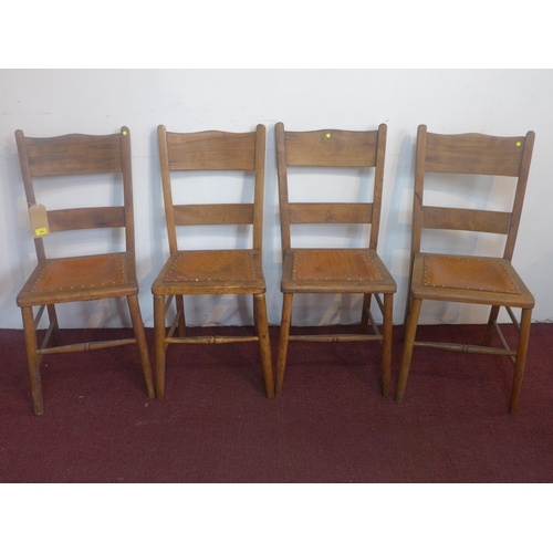 19 - A set of 6 late 19th / early 20th century chairs, with studded leather seats...