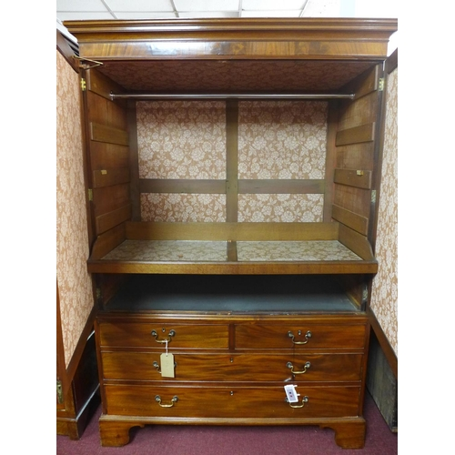 39 - A 19th century mahogany linen press converted to wardrobe, H.195 W.133 D.59cm...