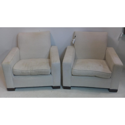 41 - A pair of 20th century armchairs with stone linen upholstery...