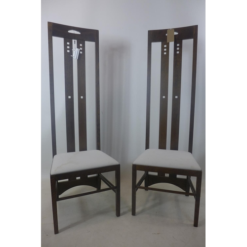 43 - A set of four Rennie Mackintosh style high back dining chairs, H.151cm...