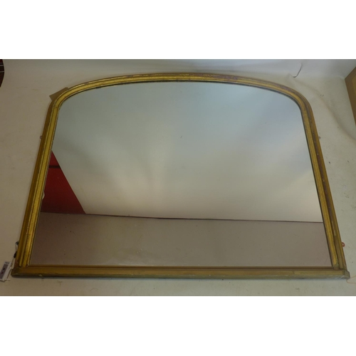 47 - A late 19th/early 20th century large gilt wood over mantle mirror, 125 x 154cm...
