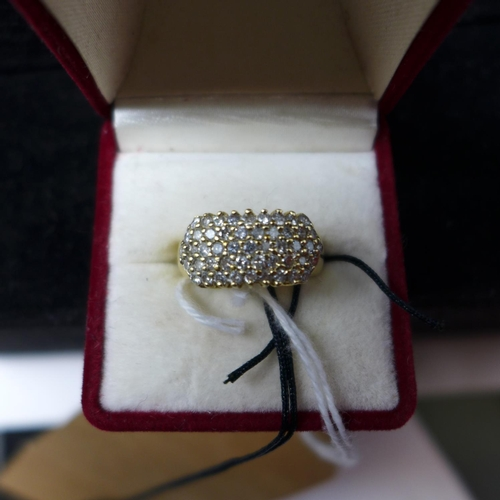 56 - A boxed 14ct yellow gold ring set centrally with 5 rows of round, brilliant-cut diamonds, size: M 1/...