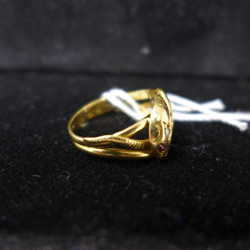 57 - An 18ct yellow gold, mid-Victorian, double-headed snake ring set with 4 rubies and 2 diamonds, size:...
