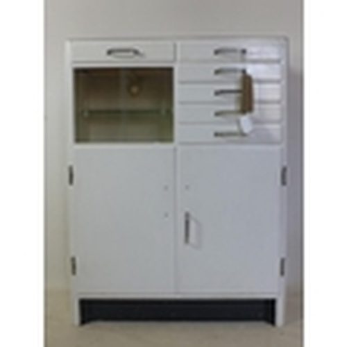 91 - A vintage medicine/dentists cabinet, with 2 sliding doors and 6 drawers above 2 cupboard doors, H.98...