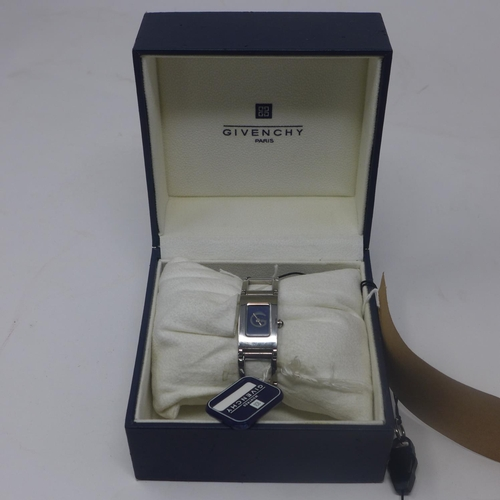 95 - A boxed, Givenchy, Paris ladies wristwatch in stainless steel with rectangular dark blue dial, Swiss...