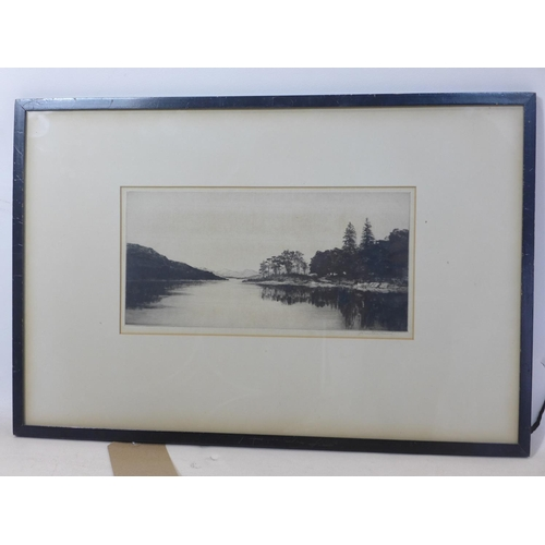 104 - Johnstone Baird, 'loch katrine', etching, signed in pencil, label to verso, 16 x 31cm...
