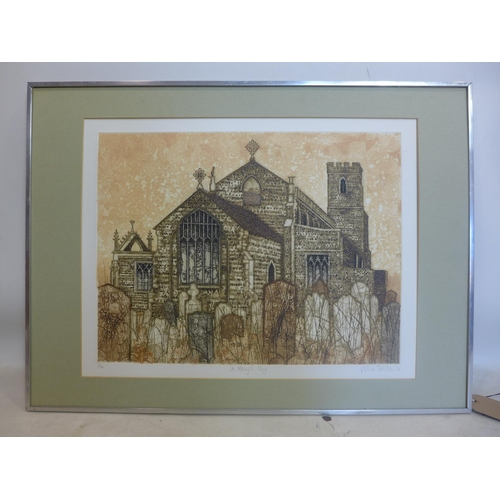 114 - Valerie Thornton (British, 1931-1991), 'St Mary's, Cley', limited edition colour etching and aquatin...
