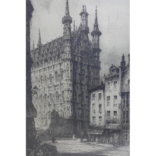 120 - Andrew Fairburn Affleck (1869-1935), 'Leuven Town Hall', original etching, signed in pencil to lower...