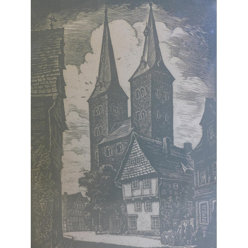 121 - Fritz Rohrs (German, 1896-1959), A church in a Continental street scene, woodcut print, signed and i...