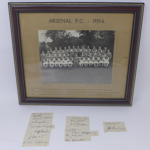 125 - An original framed and glazed 1935-6 Arsenal monochrome photograph by official Arsenal photographer ...