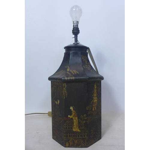 129 - A Chinese style tin lamp, H.40cm...
