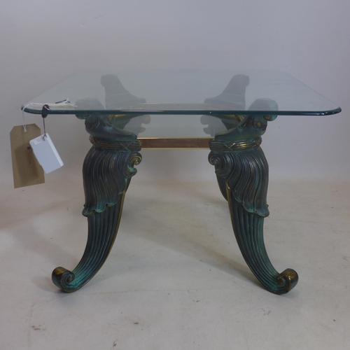 161 - A contemporary bronze and glass coffee table, H.42 W.60 D.60cm...