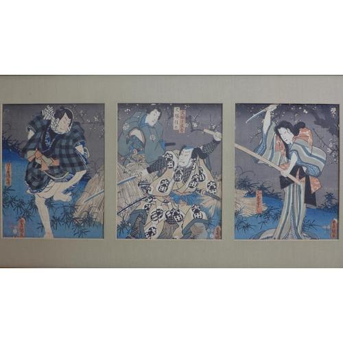 175 - Utagawa Kunisada (Toyokuni III) (1786-1864), an original Japanese woodblock triptych, 43 X 87cm...