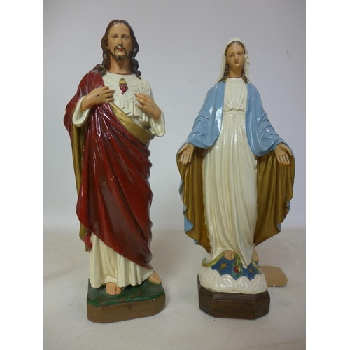 184 - A pair of cast plaster figures of Jesus and the Virgin Mary, H.53cm (2)...