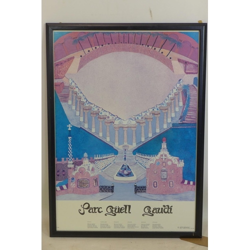 204 - A printed exhibition poster for Gaudi at Parc Güell, framed 69 x 48cm...