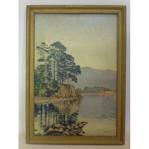 217 - W. J. Hunt, A framed oil on board of a lakeside scene, dated 1930, signed lower right, 51 x 34cm...