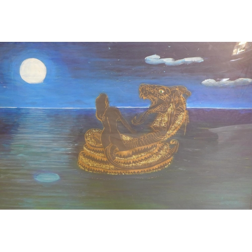 218 - A framed and glazed oil on paper of a nude lady and dragon at sea, 60 x 90cm...