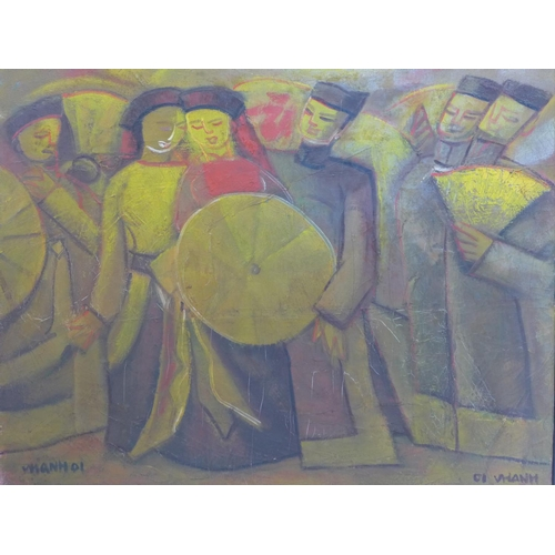 230 - A framed Vietnamese abstract oil on canvas depicting dancing figures with fans, signed 'Vhanh', 2001...