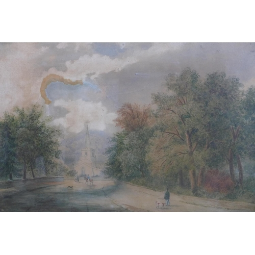 232 - A 19th century gilt framed and glazed watercolour of an avenue with trees with church to distance, 3...