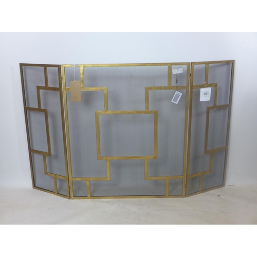 235 - A contemporary gilt metal fire guard, H.84 W.128cm (extended)...