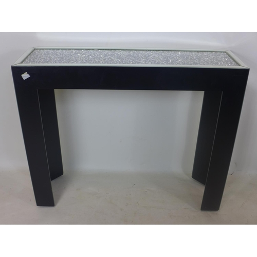 237 - A contemporary console table, the diamante top above bevelled glass supports, H.82 W.101 D.31cm...