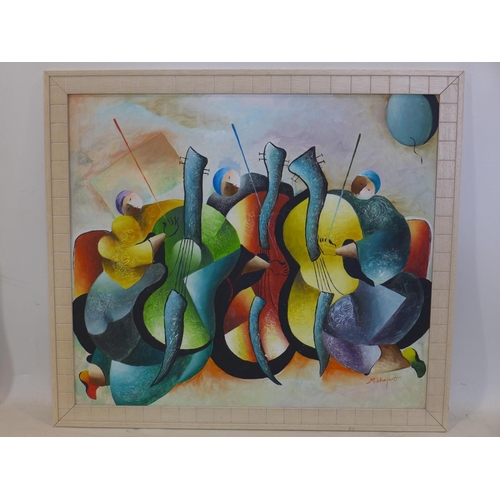 247 - An Italian, framed oil on board depicting brightly-coloured cello players, indistinctly signed botto...
