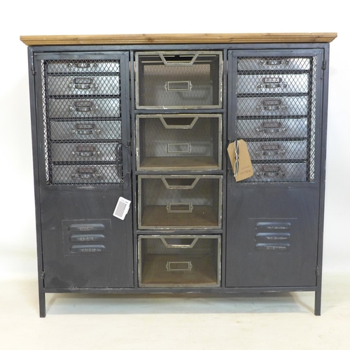 248 - An Industrial style sideboard, an arrangement of drawers and cupboard drawers, H.88 W.93 D.34cm...