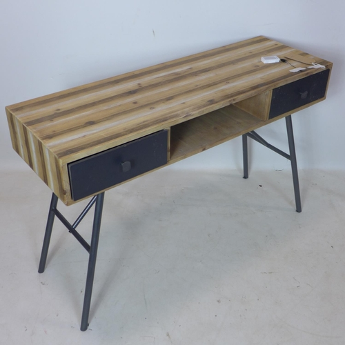 249 - A retro desk, with plank top above two drawers and recess, raised on metal supports, H.76 W.120 D.40...