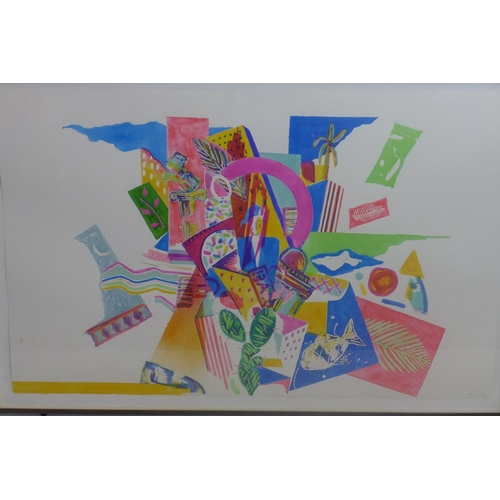 255 - A large framed and glazed abstract colourful watercolour study on cartridge paper depicting fish, le...