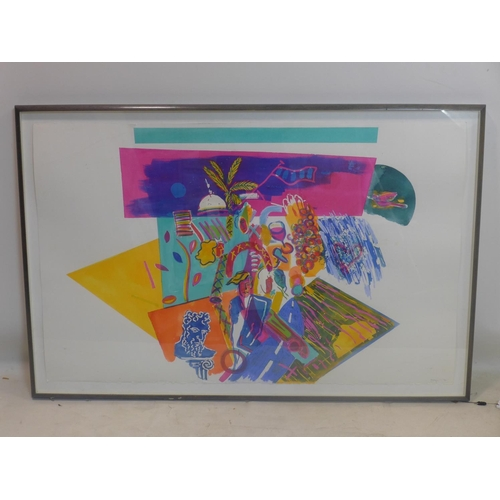 256 - A large framed and glazed abstract colourful watercolour study on cartridge paper depicting palm tre...