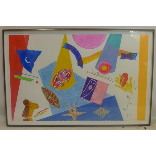 257 - A large framed and glazed abstract colourful watercolour study on cartridge paper depicting Ionic co...