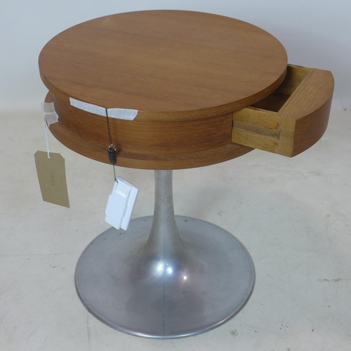 284 - A teak and aluminium lamp table with single drawer, H.51 D.43cm...