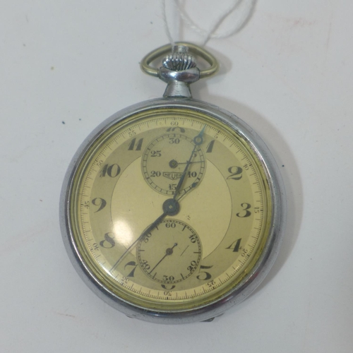 292 - A vintage Heuer plated pocket watch, the dial with Arabic numerals and two sub dials (plastic glass ...