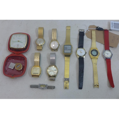 294 - A collection of gentleman's wristwatches, to include Junghans, Seiko, Casio, Westclox, and others, t...