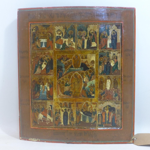 299 - A Russian icon of the Descent into Hell, the Resurrection and the Feasts, tempera on wood panel, 36 ...