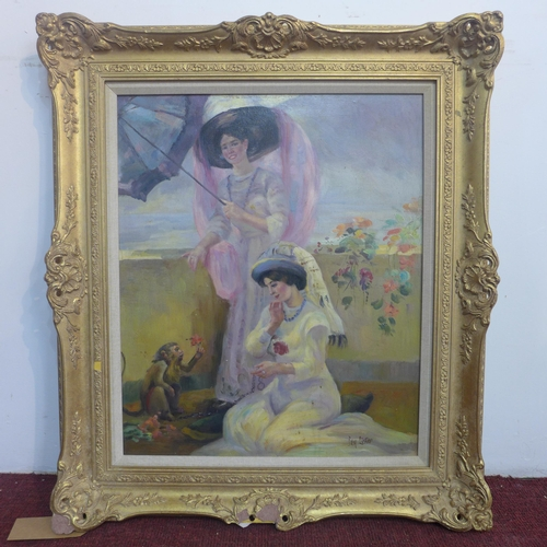 326 - Ben Lister, British, A gilt framed oil on canvas depicting two ladies in 19th century dress on a sun...