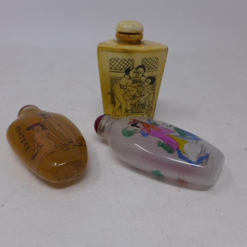 334 - Three Chinese snuff bottles to include a carved horn erotic example 7 x 4cm with two hand-painted gl...