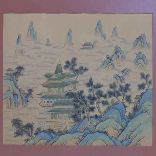 340 - A Chinese painting on paper depicting houses in a mountainous landscape, bearing stamp mark to lower...