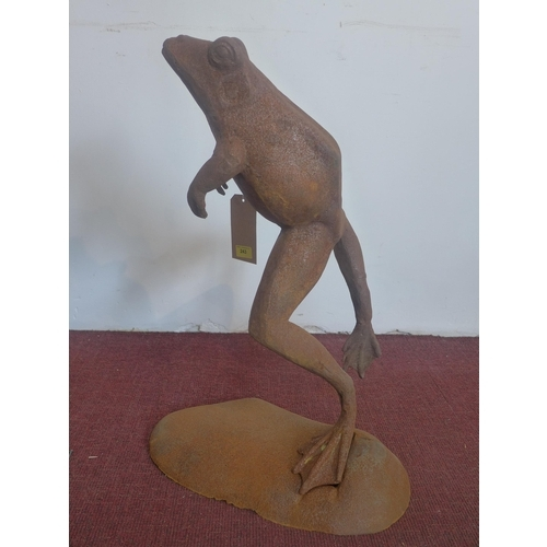347 - A cast iron leaping frog, H.69 W.45 D.36cm...