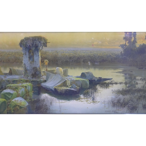 355 - A large colour print of a painting by Enrique Serra, Roma, depicting a boat by marshes in an ebonise...