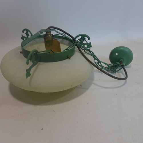 364 - Two 1930's ceiling lights: a white glass and green painted metal example with a circular pierced bra...