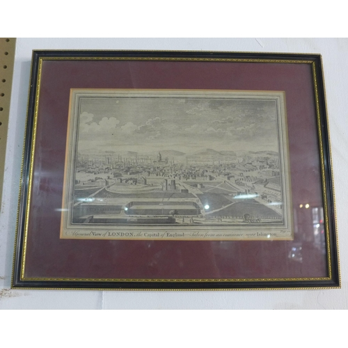 365 - A framed and glazed antique monochrome print of London entitled 'Taken from an eminence near Islingt...