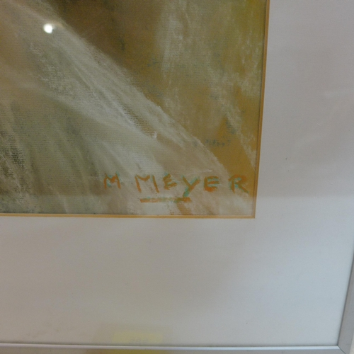 367 - Max Meyer, A framed 20th century, mixed media of a femme fatal, signed lower right, 61 x 45cm...