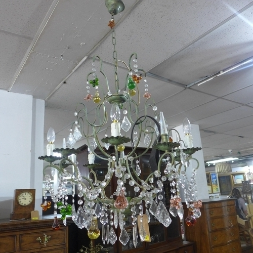 375 - A 20th century 10 branch cast metal chandelier, with multi-coloured glass fruit droplets and floral ...