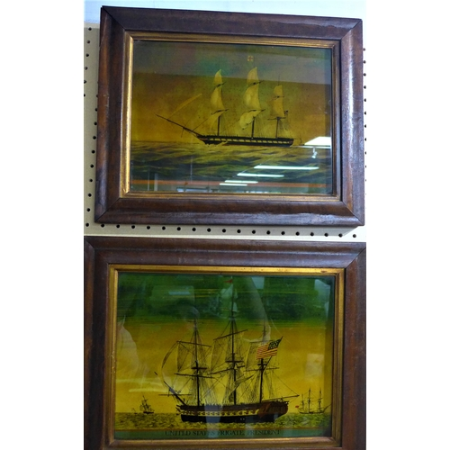 4 - Two Regency framed reverse prints on glass of frigates, to include one of 'United States Frigate, Pr...