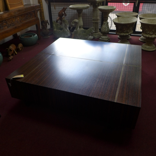 383 - A large exotic hardwood coffee table by Holly Hunt USA, H.37 W.143 D.143cm...