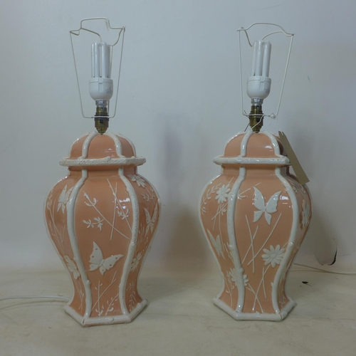 360 - A pair of Italian ceramic table lamps with shades, H.39cm...