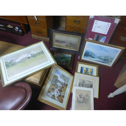 108 - A collection of 9 framed paintings and prints...