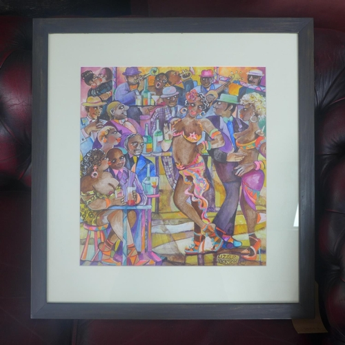 212 - Lizzie Jackson, Cuban dancers, watercolour, signed lower right, framed and glazed, 40 x 37cm...