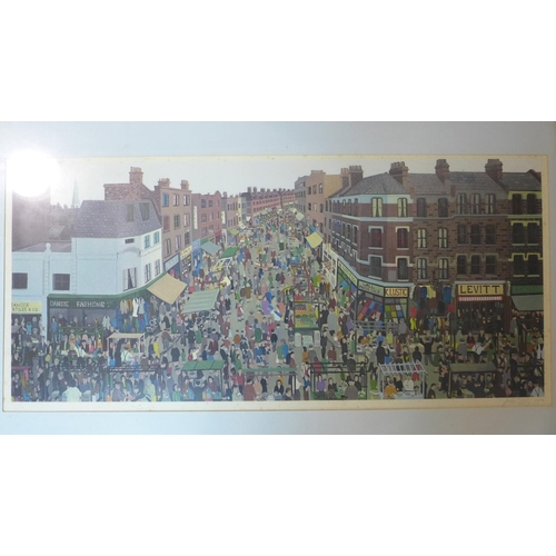 506 - John Allin (1934-1991) , individually framed folio of 8 prints about the East End, with poem by Arno...